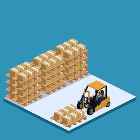 Isometric 3D vector illustration warehouse with a forklift, goods and people. Logistic process in the warehouse.