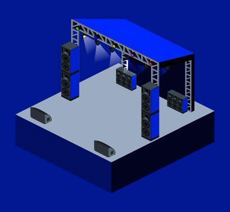 リモコンの後ろのステージ上のDJパーティーのアイソメ3Dイラスト
