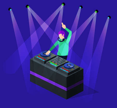 Isometric 3D illustration of DJ party on stage. Vectores