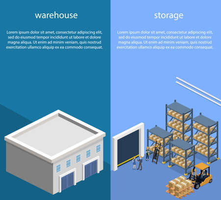 Logistic process in the warehouse Illustration