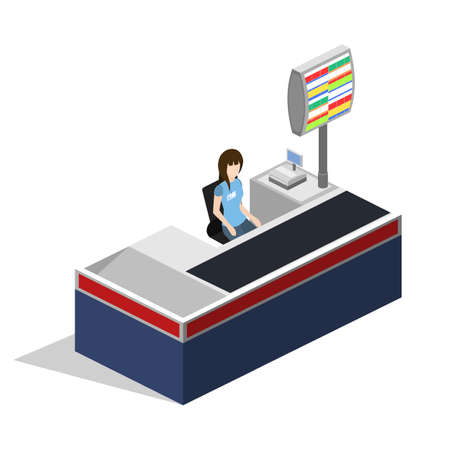 Isometric 3D vector illustration concept of a grocery store with buyers and cashier Ilustração