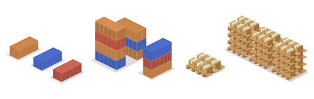 Isometric 3D vector illustration concept heavy containers of goods