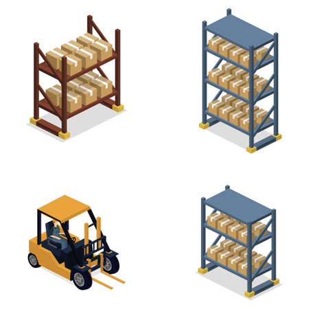 Isometric 3D Vector Illustration Concept Set Of Objects For Creation Warehouse With Forklift And Goods