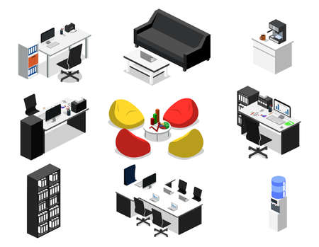 Isometric 3D vector illustration concept set of objects for creation of a business center or office