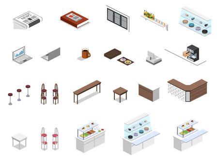 Isometric 3D vector illustration set of object for making coffee shop or canteen