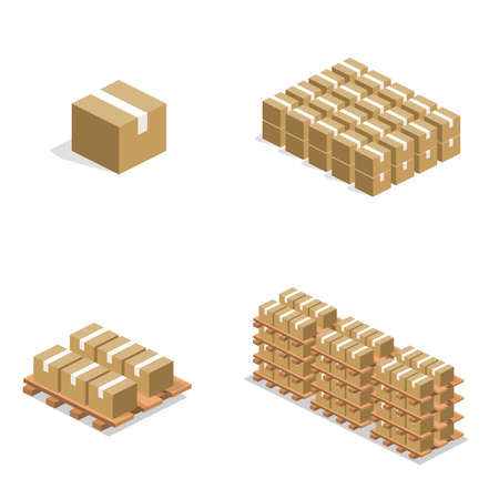 Isometric 3D illustration concept warehouse shelves with boxes.