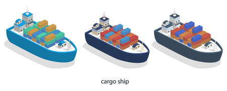 Isometric 3D vector illustration A cargo ship delivers heavy containers of goods