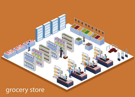 Concepto isométrico de ilustración vectorial 3D de una tienda de comestibles con compradores y cajero