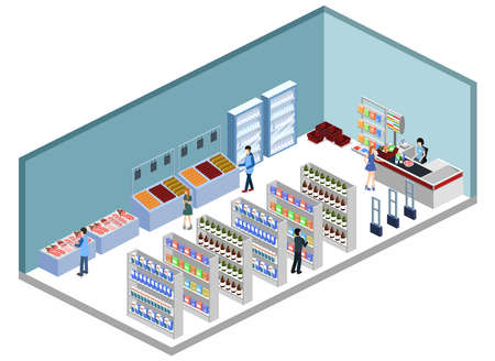 Isometric 3D vector illustration concept of a grocery store with buyers and cashier Vectores