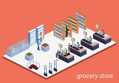 Izometryczny 3d wektor ilustracja koncepcja sklepu spożywczego z kupującymi i kasjerem