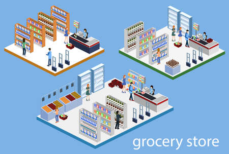 Isometric 3D vector illustration set of a grocery store with buyers and cashier