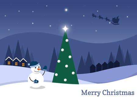 Cartoon flat vector illustration starry Christmas night and happy snowman Illustration