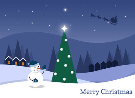 Cartoon flat vector illustration starry Christmas night and happy snowman Vectores