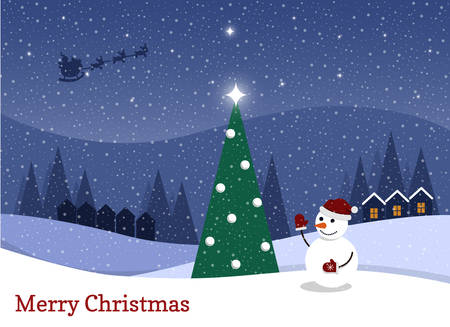 cartoon flat vector illustration starry christmas night and happy snowman stock vector 91589350 - Starry Christmas