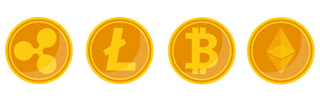 Flat vector illustration cryptocurrency electronic coin ripple bitcoin litecoin ethereum altcoin Vector Illustration
