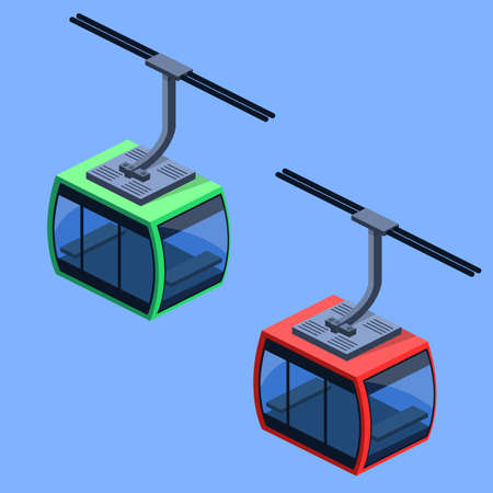 Isometric 3D vector illustration funicular cable for winter tourism