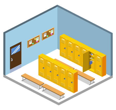 Isometric 3D vector illustration interior dressing room in school with students