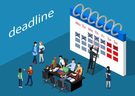 Isometric 3D vector illustration teamwork meeting to discuss deadline