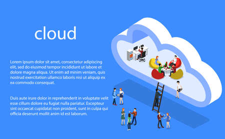 Isometric 3D vector illustration concept of a cloud office with people Vectores