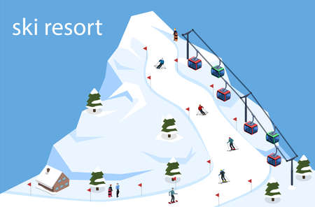 Isometric 3D vector illustration ski resort with a cable car on the mountain. Illustration