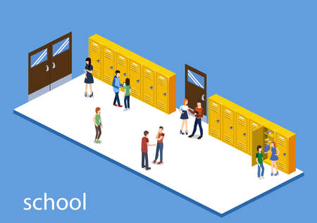 Isometric 3D vector illustration students in the school corridor go to classes.