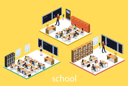 Isometric 3D vector illustration Interior class in school with students