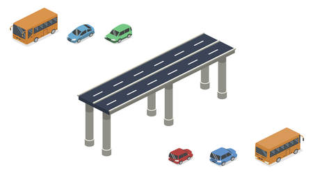 Isometric 3D vector illustration high-speed road or road with transport.