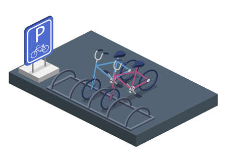 Parking for bicycles isometric 3D vector illustration