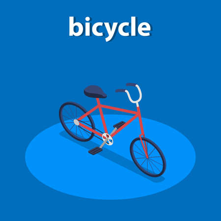 New model of bicycle fenced area isometric 3D vector illustration