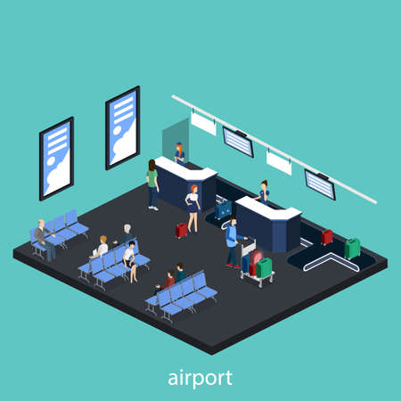 Isometric 3D vector illustration people at the airport with luggage and waiting for the plane Çizim