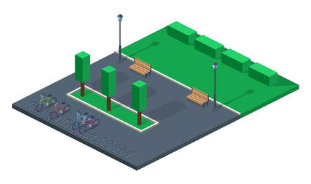 Landscape of a green park for peoples recreation illustration 3D isometric
