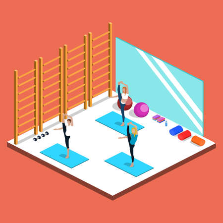 Class yoga and plates, people are doing sports isometric 3D vector illustration