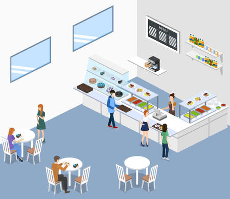 Isometric 3D vector illustration concept of confectionery or canteen with visitors.