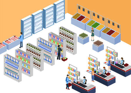 Isometric 3D illustration concept of a grocery store with buyers and cashier.