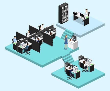 Isometric vector illustration flat 3d office interior departments concept vector. Illustration