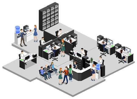Isométrico ilustración vectorial plana 3d oficina interior departamentos concepto vector.