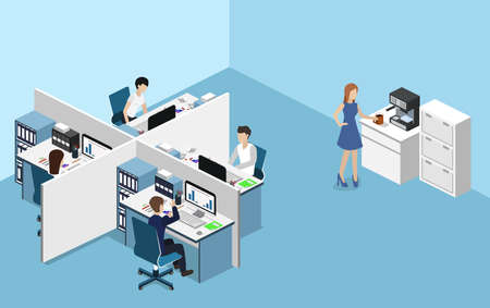 Isometric vector illustration flat 3d office interior departments concept vector. Illustration