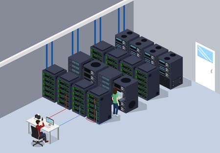 Isometric 3D vector illustration concept server room data center