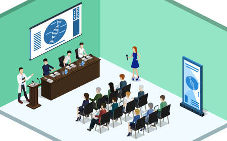 report at a medical conference with students Isometric 3D vector illustration concept