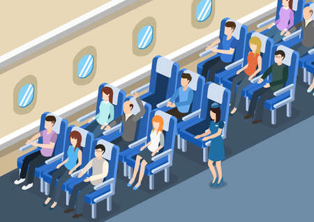 Isometric 3D vector illustration board of the aircraft from the inside with passengers and stewardess