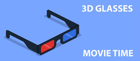 Isometric 3D vector Points for viewing 3D movies Illustration