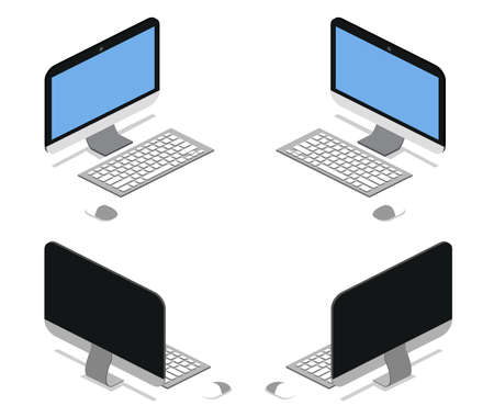 Isometric 3D vector illustration concept of computer laptop front view and back view