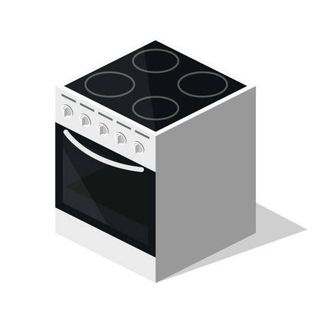 Isometric 3D flat illustration concept collection of home appliances. Gas and electric stove for kitchen Illustration