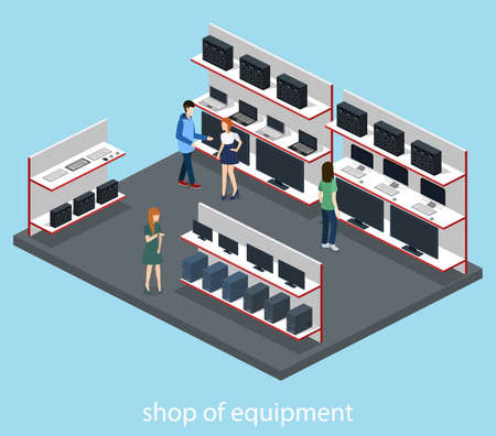 Isometric 3D vector illustration computer store and hardware store. Illustration