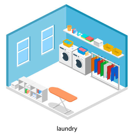 Laundry or cleaning room with washing machine and iron isometric 3D vector illustration