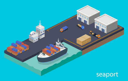 Isometric 3D vector illustration concept Warehouse and shipment to the cargo ship. Vettoriali