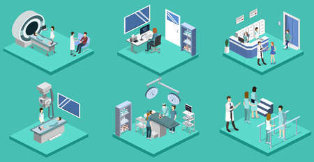 Isometric 3D vector illustration set of hospital rooms. Illustration