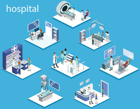 Isometric 3D vector illustration set of hospital.
