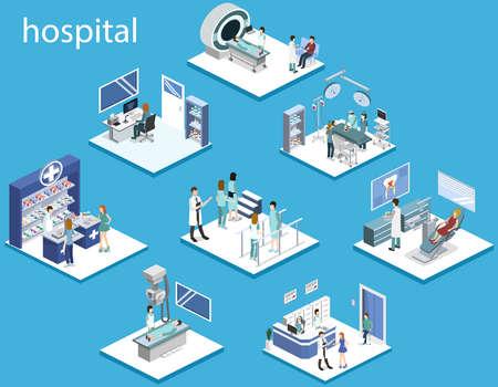 Izometryczny zestaw ilustracji wektorowych 3D szpitala.