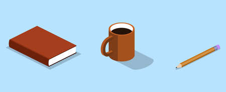 Isometric 3D vector illustration organizer with a pencil and cup. Lying book with a pencil and cup